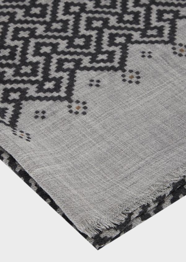 Écharpe en laine gris anthracite à motif fantaisie gris clair et camel - Father and Sons 41166