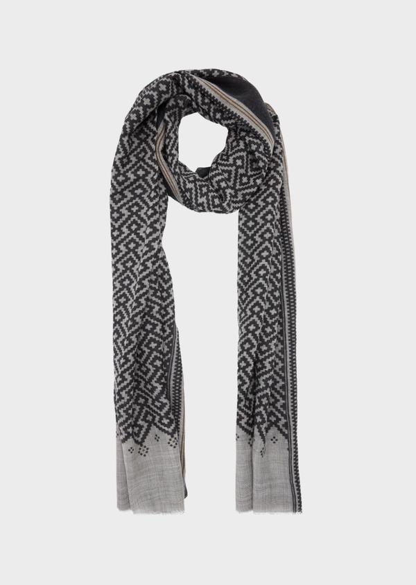 Écharpe en laine gris anthracite à motif fantaisie gris clair et camel - Father and Sons 41165