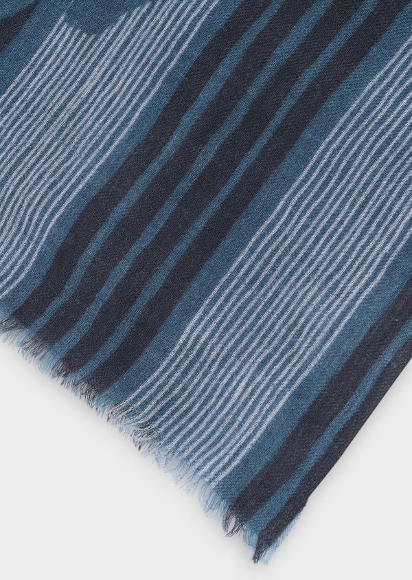 Écharpe en laine gris clair à motif fantaisie bleu et noir - Father and Sons 35247
