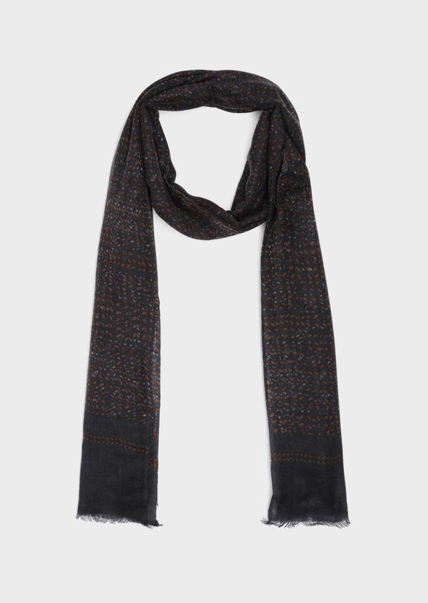 Écharpe en laine grise à motif fantaisie camel - Father and Sons 35260
