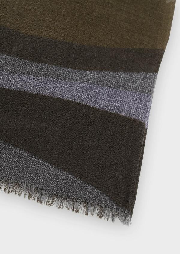 Écharpe en laine vert kaki à motif fantaisie - Father and Sons 35238
