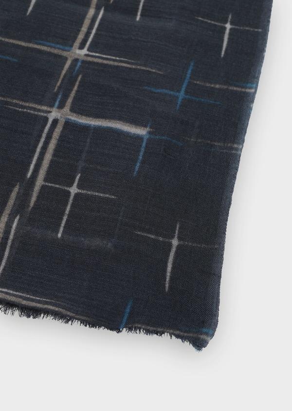 Écharpe en laine et coton noire à motifs traits de pinceaux - Father and Sons 35263
