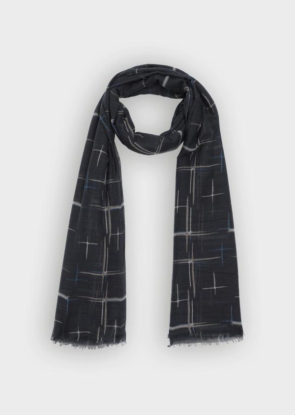 Écharpe en laine et coton noire à motifs traits de pinceaux - Father and Sons 35262