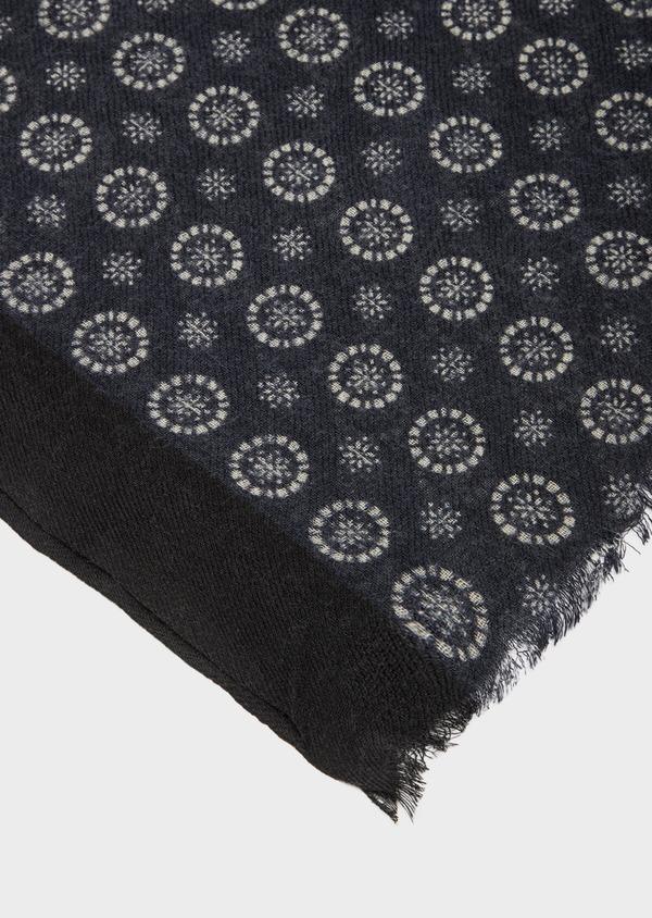 Écharpe en laine noire à motif fantaisie blanc - Father and Sons 41192