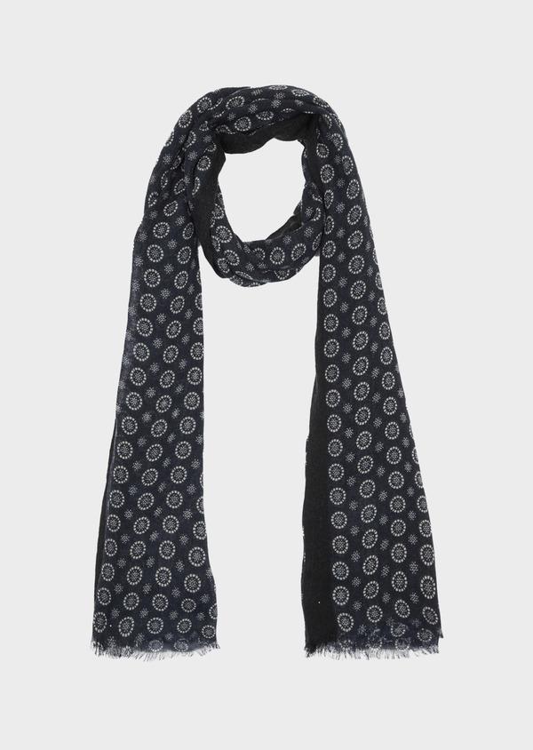 Écharpe en laine noire à motif fantaisie blanc - Father and Sons 41191