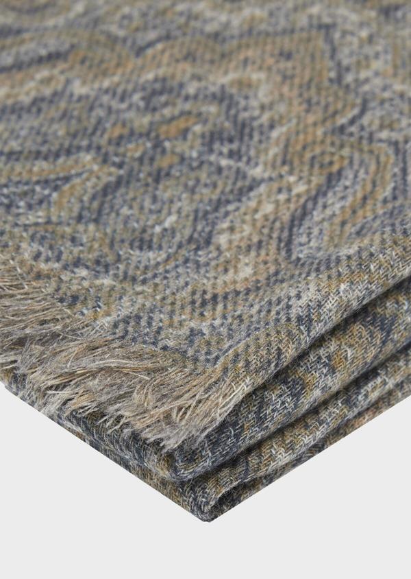 Écharpe en laine et coton kaki à motif cachemire beige - Father and Sons 41778