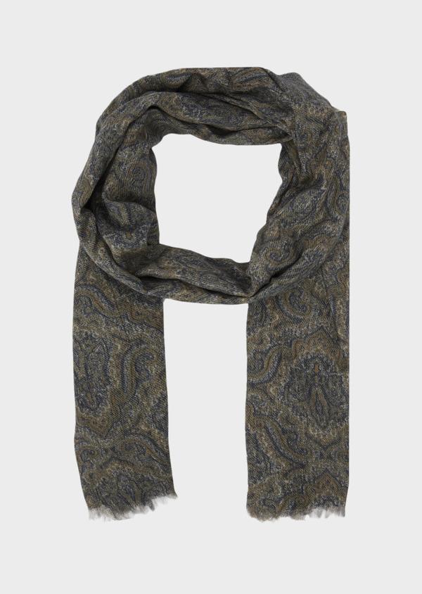 Écharpe en laine et coton kaki à motif cachemire beige - Father and Sons 41777