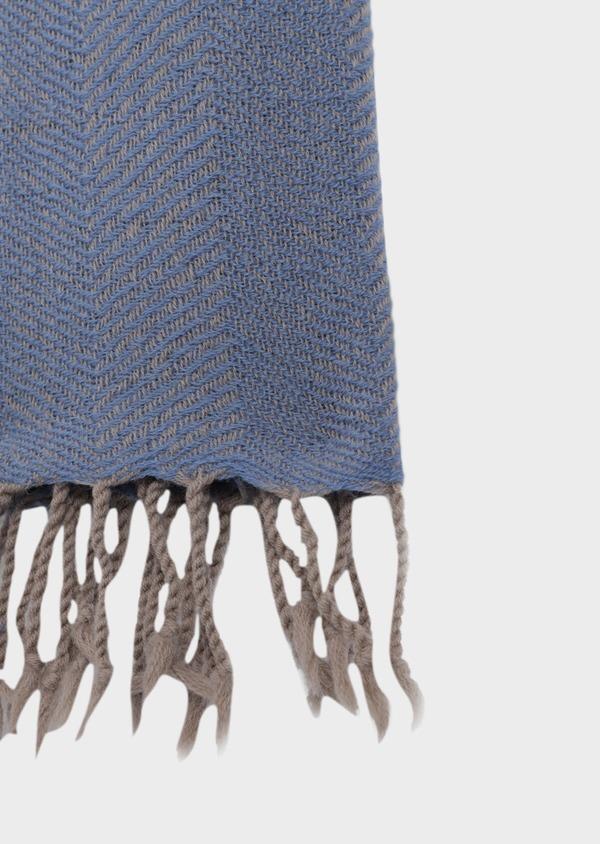 Écharpe en laine à motif chevron bleu et beige - Father and Sons 35671