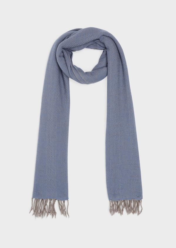 Écharpe en laine à motif chevron bleu et beige - Father and Sons 35670