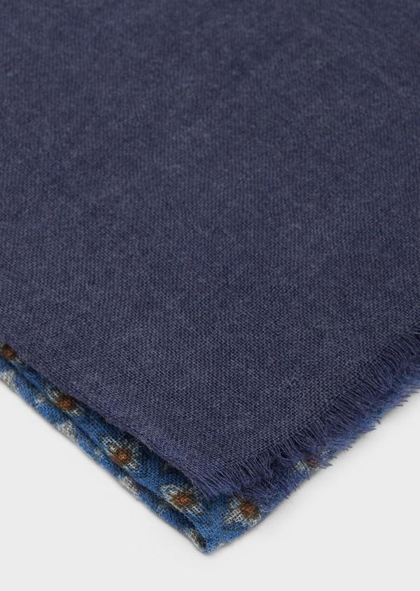 Écharpe en laine bleu marine à motifs géométriques marron et jaune - Father and Sons 37225