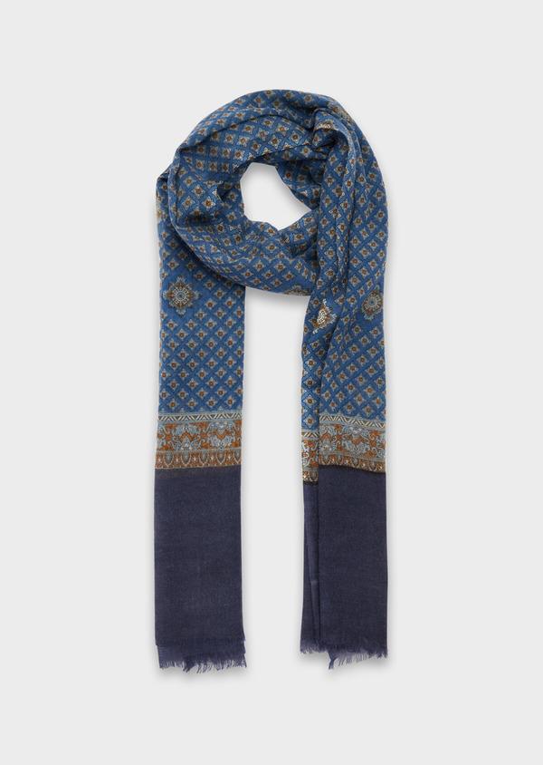 Écharpe en laine bleu marine à motifs géométriques marron et jaune - Father and Sons 37224