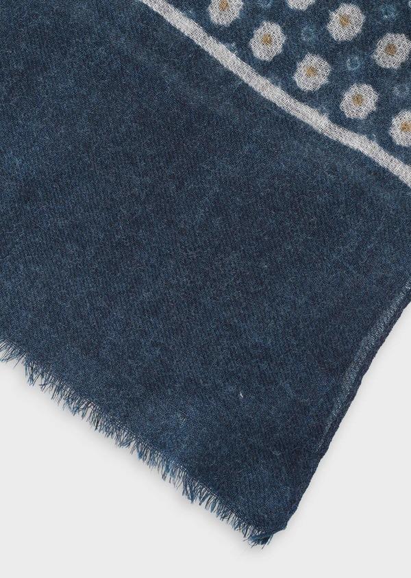 Écharpe en laine bleue à motif fleuri et géométrique jaune et gris - Father and Sons 35245