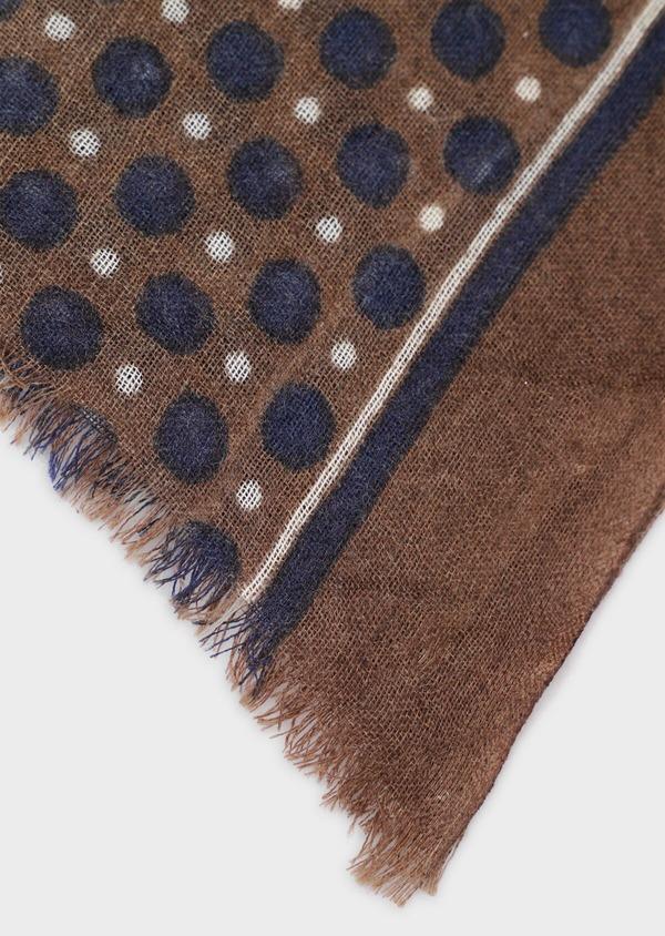 Écharpe en laine taupe à motifs géométriques bleu et écru - Father and Sons 35234