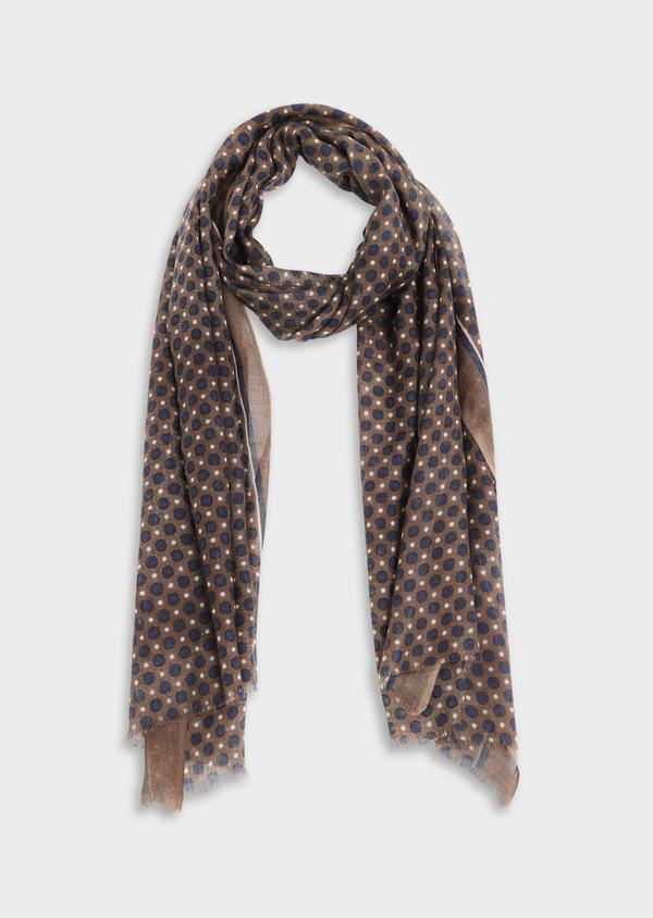 Écharpe en laine taupe à motifs géométriques bleu et écru - Father and Sons 35233