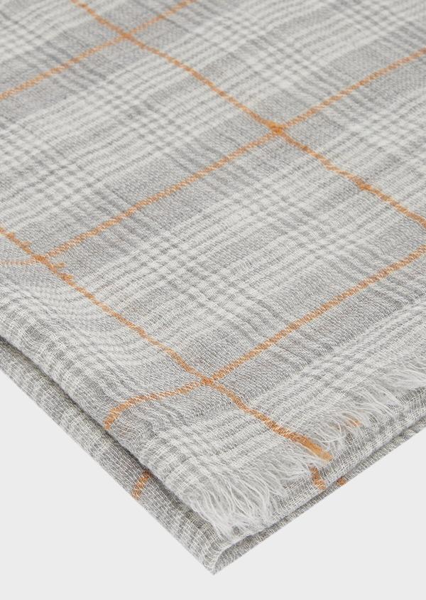 Écharpe en laine grise à carreaux et rayures blanc et cognac - Father and Sons 41176