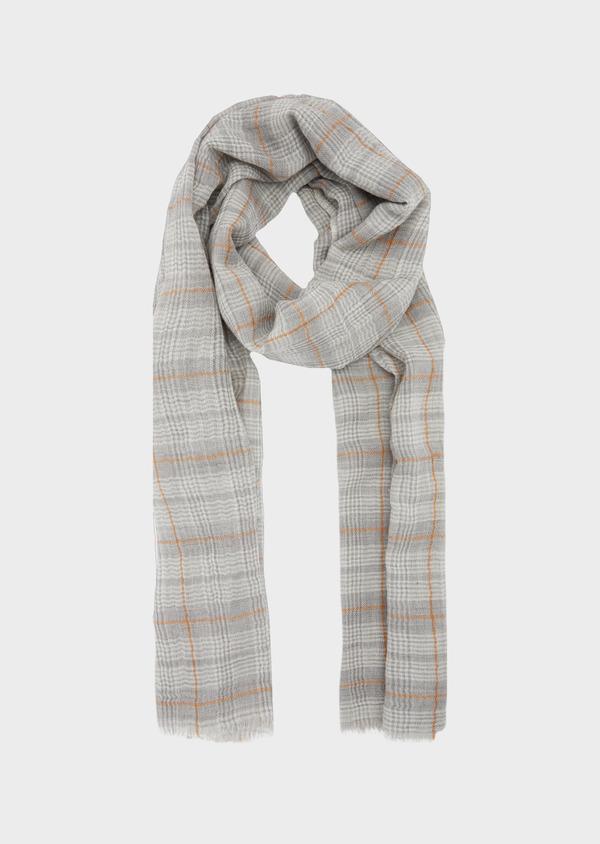 Écharpe en laine grise à carreaux et rayures blanc et cognac - Father and Sons 41175