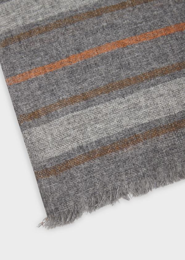 Écharpe en laine mélangée grise à rayures orange - Father and Sons 36330