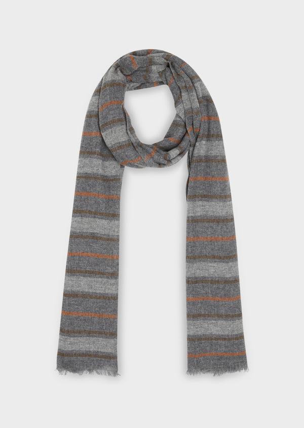 Écharpe en laine mélangée grise à rayures orange - Father and Sons 36329