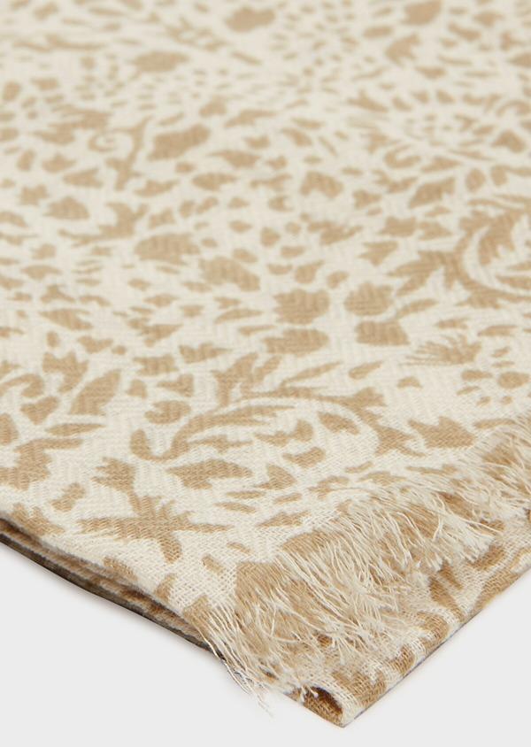 Écharpe en coton beige à motif fantaisie vert kaki clair - Father and Sons 33021