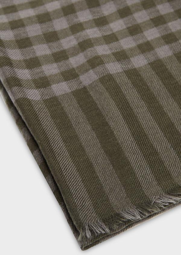 Écharpe en laine vert kaki à carreaux - Father and Sons 27703