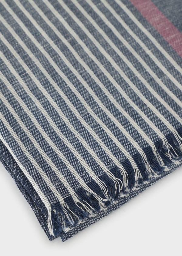 Écharpe en coton mélangé bleu à rayures blanches - Father and Sons 33041