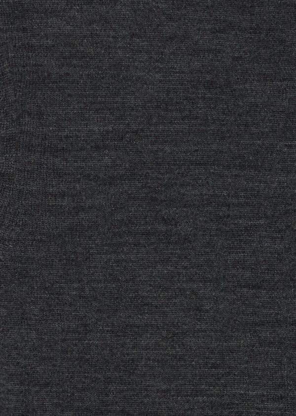 Gilet à capuche zippé en laine Mérinos unie grise - Father and Sons 39317