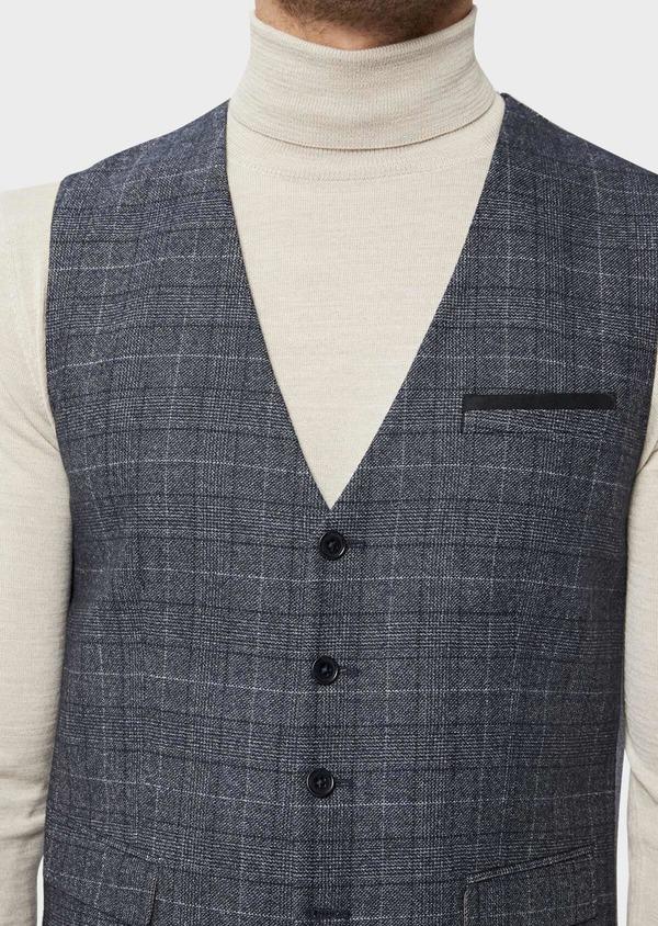 Gilet casual en laine mélangée bleu chambray Prince de Galles - Father and Sons 36001