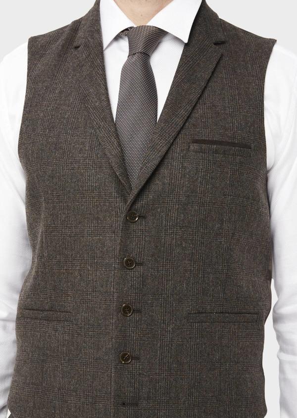 Gilet casual en laine mélangée marron Prince de Galles - Father and Sons 36701