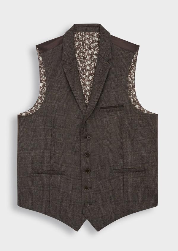 Gilet casual en laine mélangée marron Prince de Galles - Father and Sons 36697