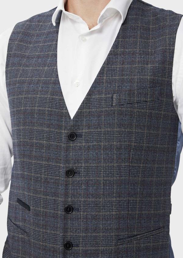 Gilet casual bleu indigo Prince de Galles - Father and Sons 35270