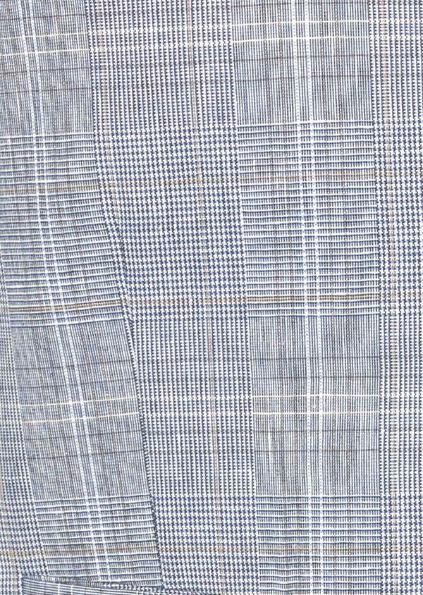 Gilet casual en lin et coton bleu indigo Prince de Galles - Father and Sons 39818