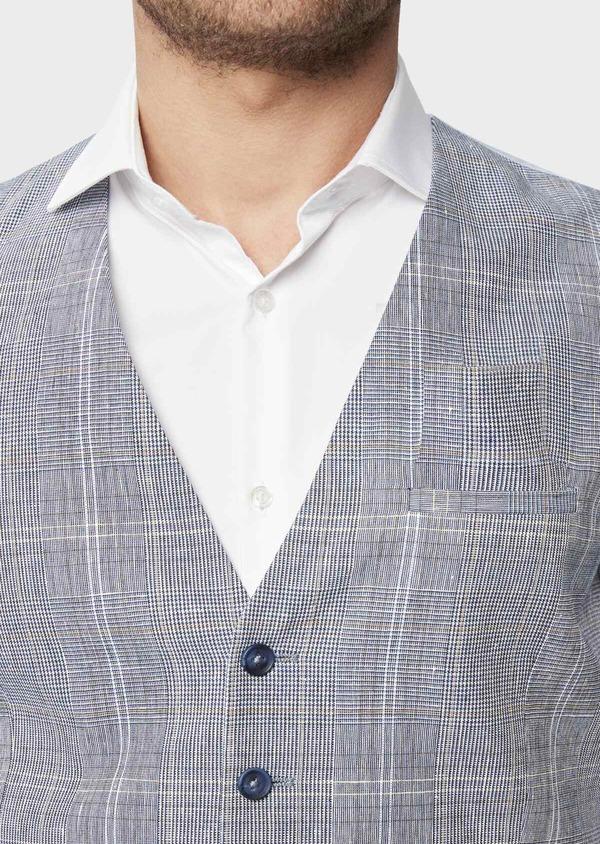 Gilet casual en lin et coton bleu indigo Prince de Galles - Father and Sons 39821