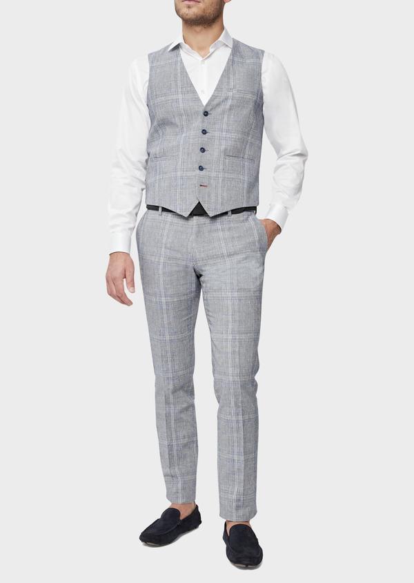 Gilet casual en lin et coton bleu indigo Prince de Galles - Father and Sons 39822