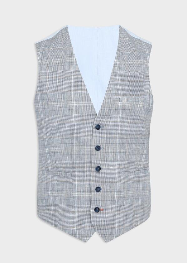 Gilet casual en lin et coton bleu indigo Prince de Galles - Father and Sons 39817