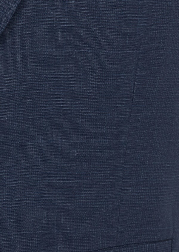 Gilet casual en lin et coton bleu marine Prince de Galles - Father and Sons 40041