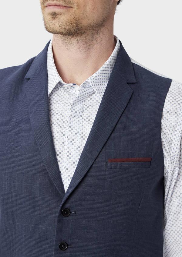 Gilet casual en lin et coton bleu marine Prince de Galles - Father and Sons 40044