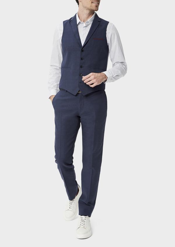 Gilet casual en lin et coton bleu marine Prince de Galles - Father and Sons 40042