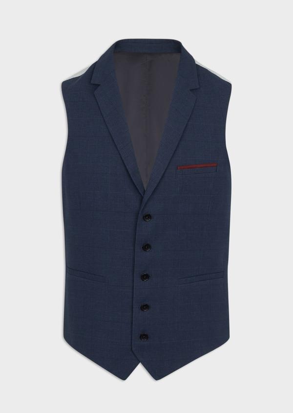 Gilet casual en lin et coton bleu marine Prince de Galles - Father and Sons 40040