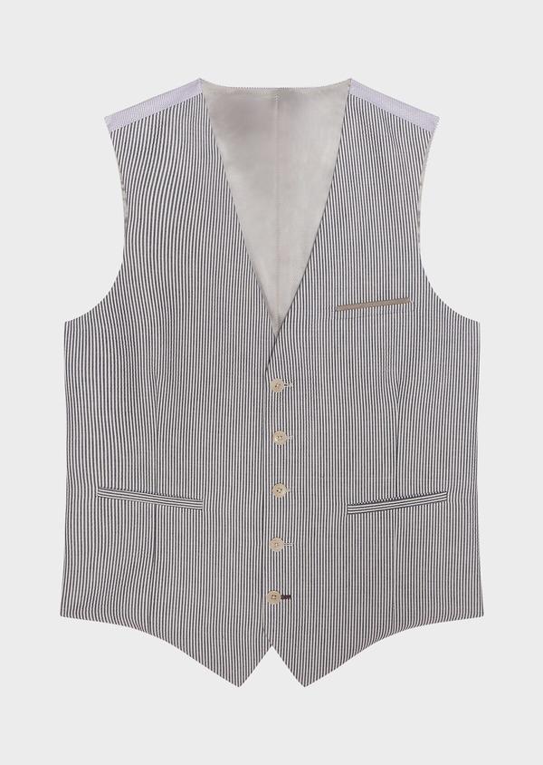 Gilet casual en coton stretch bleu indigo à rayures - Father and Sons 33061