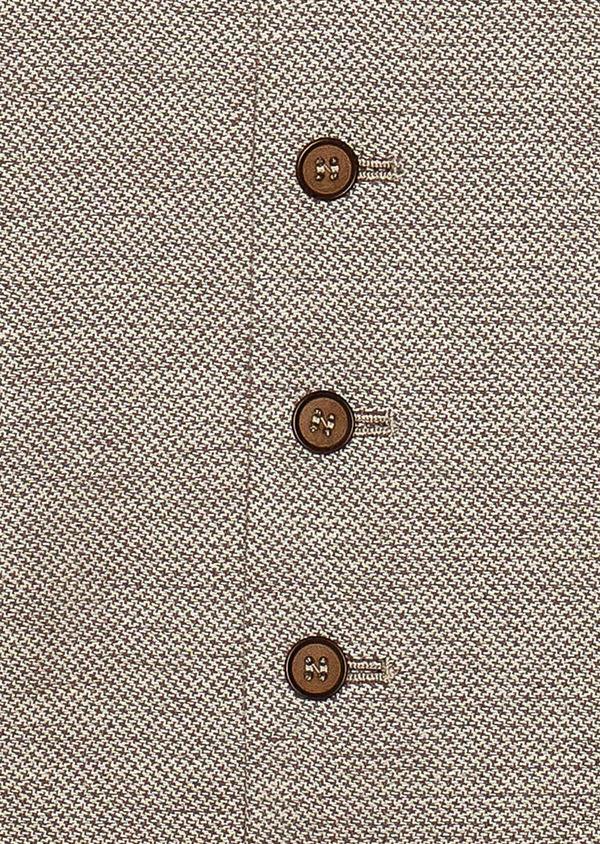 Gilet casual en coton stretch et lin uni beige - Father and Sons 33824