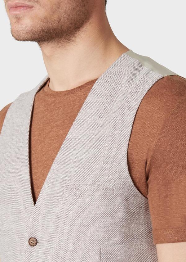 Gilet casual en coton stretch et lin uni beige - Father and Sons 33827
