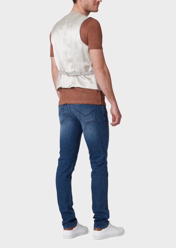 Gilet casual en coton stretch et lin uni beige - Father and Sons 33826