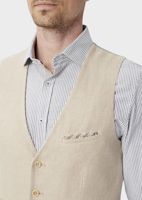 Gilet casual en lin et coton uni beige foncé - Father and Sons 39833