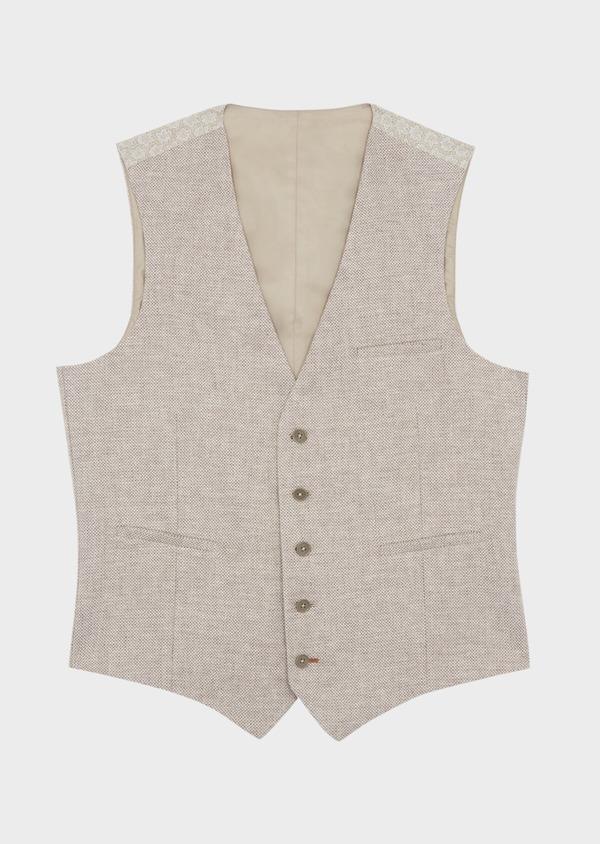 Gilet casual en coton et lin uni beige foncé - Father and Sons 39160