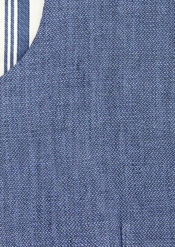 Gilet casual en lin uni bleu indigo - Father and Sons 40174