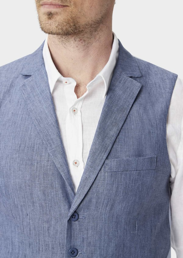 Gilet casual en lin uni bleu indigo - Father and Sons 40177