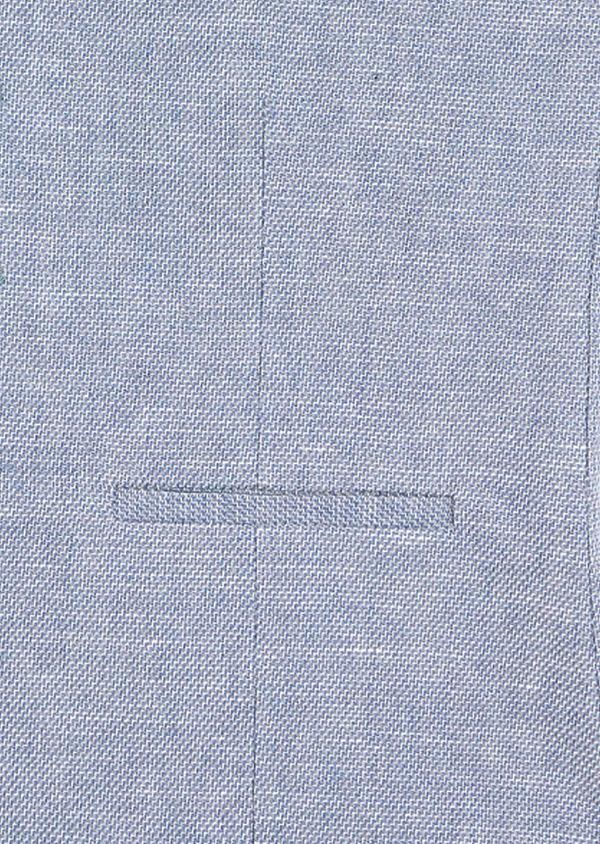 Gilet casual en coton et lin uni bleu chambray - Father and Sons 39068