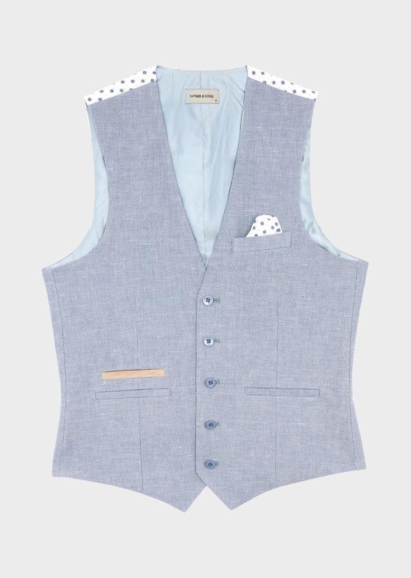 Gilet casual en coton et lin uni bleu chambray - Father and Sons 39067