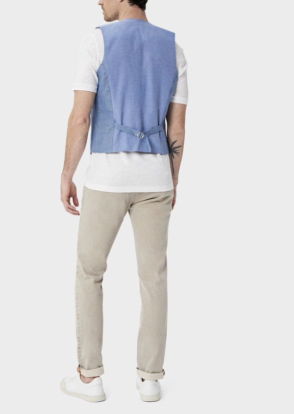 Gilet casual en lin et coton uni bleu - Father and Sons 39826