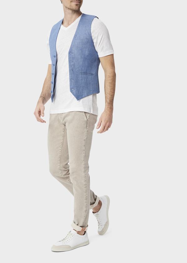 Gilet casual en lin et coton uni bleu - Father and Sons 39828